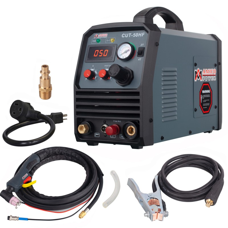 CUT-50HF, 50 Amp Non-touch Pilot Arc Plasma Cutter, 3/5 inch Clean Cut, 95~260V Wide Voltage, DC Inverter Pro. Cutting Machine