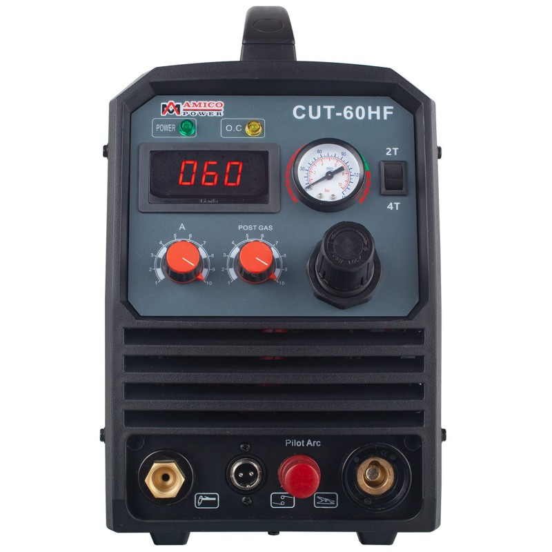 CUT-60HF, 60 Amp Non-touch Pilot Arc Plasma Cutter, 4/5 inch Clean Cut, 95~260V Wide Voltage, DC Inverter Pro. Cutting Machine