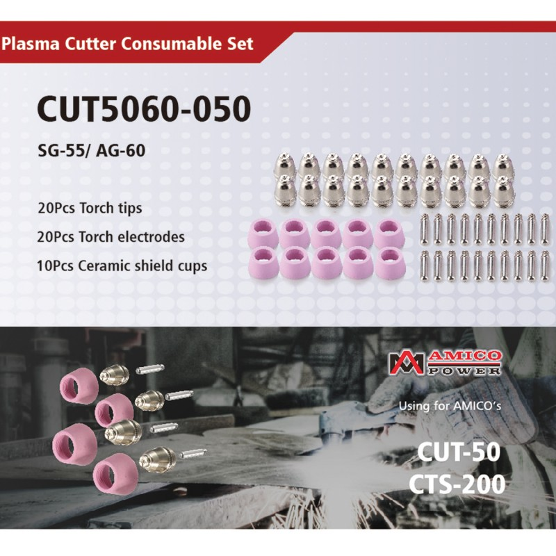 CUT5060-050, 50 Pcs Plasma Cutter Consumables Nozzles, Electrodes and Cups for CUT-50 APC-50 & CTS-200