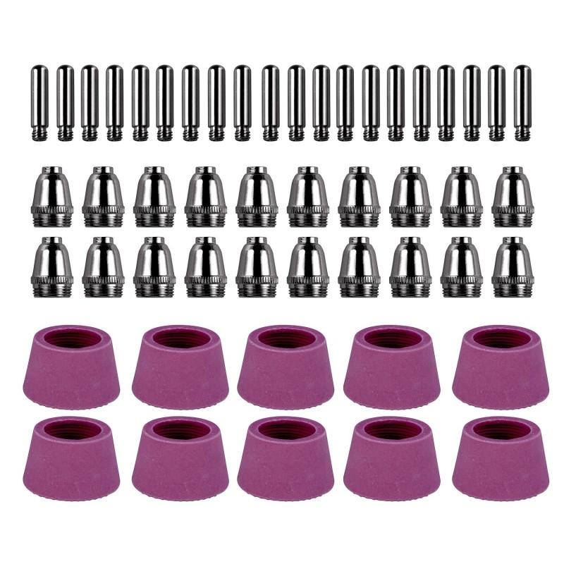 CUT5060-050, 50 Pcs Plasma Cutter Consumables Nozzles, Electrodes and Cups for CUT-50 APC-50 & CTS-200