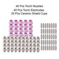 CUT5060-100, 100 Pcs Plasma Cutter Consumables Nozzles, Electrodes and Cups for CUT-50 APC-50 & CTS-200