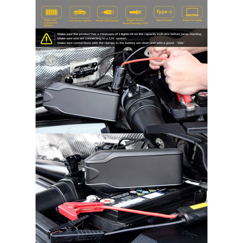 DR-8 22500 mAh Portable Car Jump Starter Booster Charger Battery Power Bank