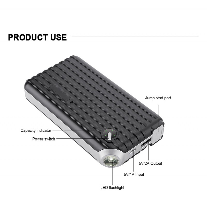 DR-9S 8000 mAh Portable Car Jump Starter Booster Charger Battery Power Bank