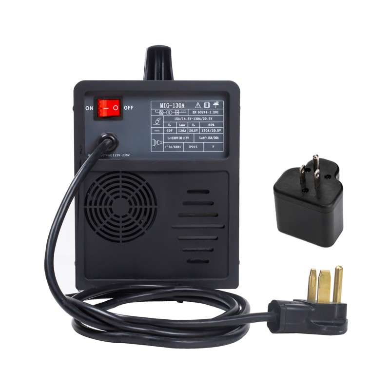 MIG-130A, 130 Amp MIG/Flux Core Wire Gasless Welder, 115/230V Dual Voltage, IGBT Inverter Welding Soldering Machine.