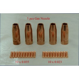 MTS-001, 5 x Gas Nozzle, 20 x 0.023 & 0.035 Tips, Use for MTS-205 MTS-185 MTS-165 MIG Welder