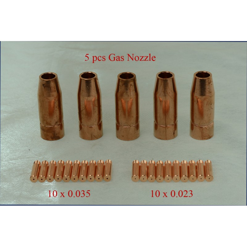 MTS-001, 5 x Gas Nozzle, 20 x 0.023 & 0.035 Tips for MTS-205 MTS-185 MTS-165 MIG Welder