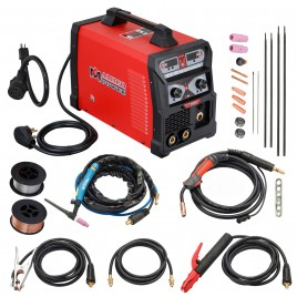 MTS-165, 165 Amp MIG/TIG/Stick Arc 3-in-1 Combo Welder, MIG Gun or Spool Gun can Weld Aluminum, 2T/4T Switch 115/230V Welding