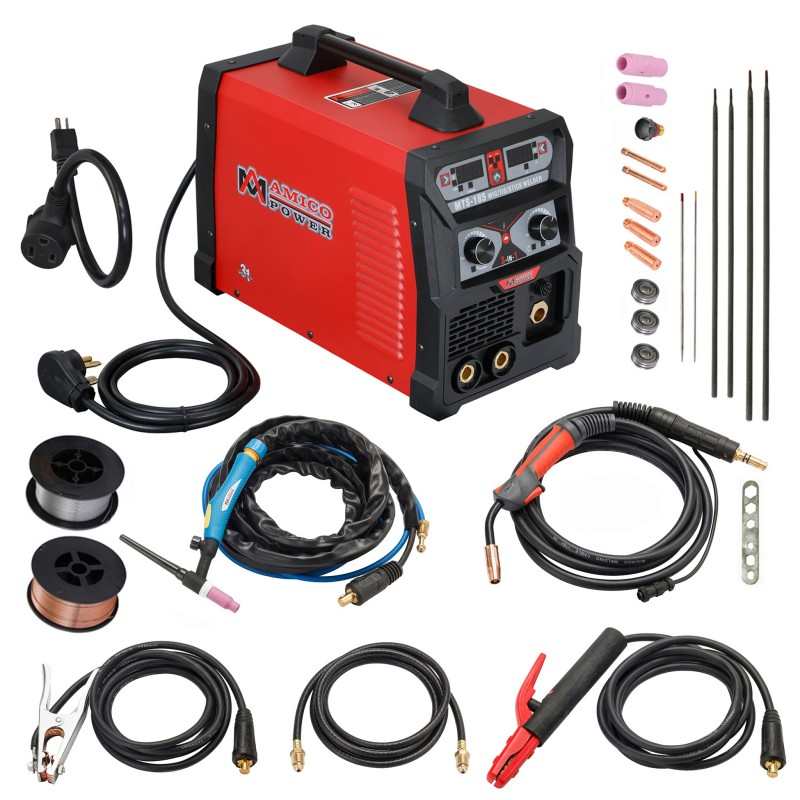 MTS-185, 185 Amp MIG/TIG/Stick Arc 3-in-1 Combo Welder, MIG Gun or Spool Gun can Weld Aluminum, 2T/4T Switch 115/230V Welding