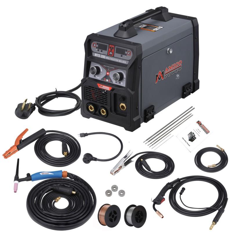 MTS-205, 205 Amp MIG/TIG/Stick Arc 3-in-1 Combo Welder, MIG Gun or Spool Gun can Weld Aluminum, 2T/4T Switch 115/230V Welding