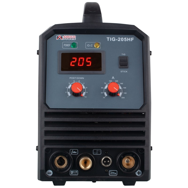 TIG-205HF, 205 Amp TIG Torch Stick Arc DC Inverter Welder, High Frequency & High Voltage 100% Start, 95~260V Wide Voltage Welding Machine.