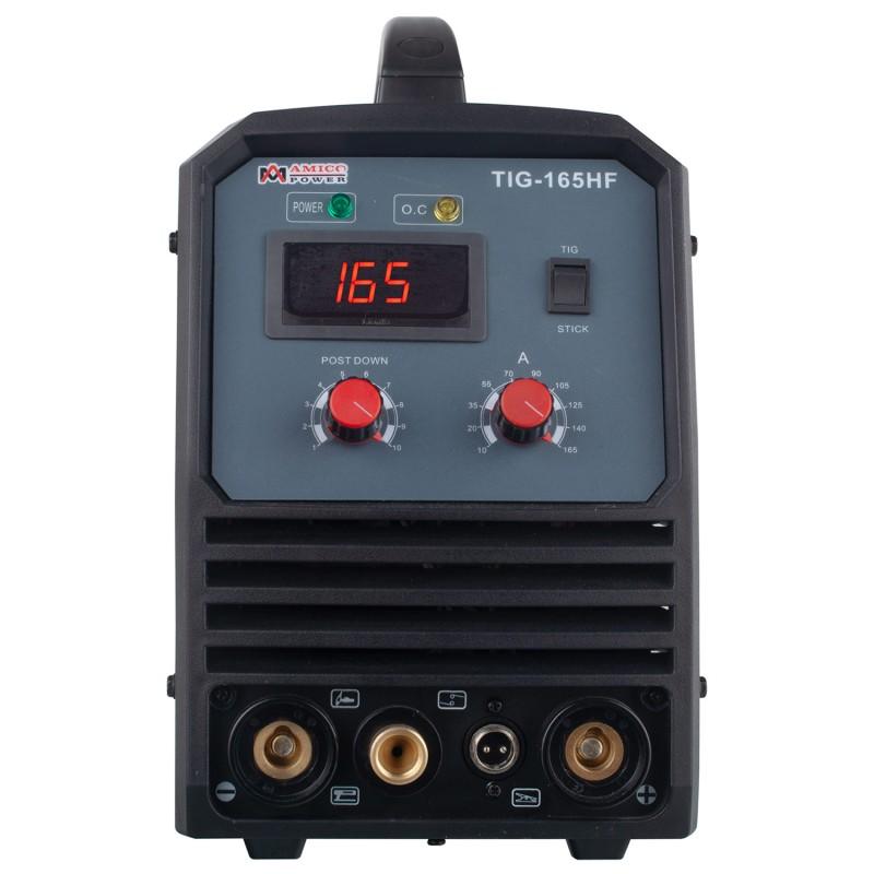 TIG-165HF, 160 Amp TIG Torch Stick Arc DC Inverter Welder, High Frequency & High Voltage 100% Start, 95~260V Wide Voltage Welding Machine.